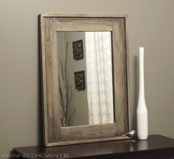 Bathroom Mirror Wood Distressed Driftwood By Kennethdante
