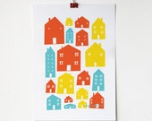 A4 Scandi Houses Print in Primary Colours