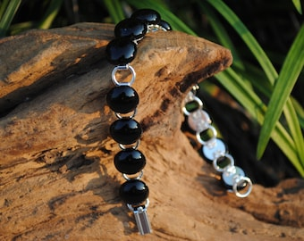 Fused glass link bracelet