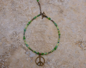 Peace Out Wasabi Green Beaded Ankle Bracelet