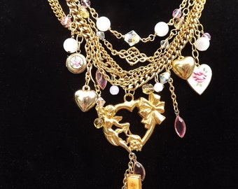 "Jewelry Assemblage Necklace, titled, ""MY LOVE"", created with repurposed vintage jewelry and chains"
