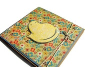 Square Yellow Chickie Easter Handmade Greeting Card, Spring Chicken Candy Floral