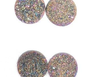 1 Piece Rainbow Titanium Round Calibrated Druzy Cabochon 8mm B31DR7999