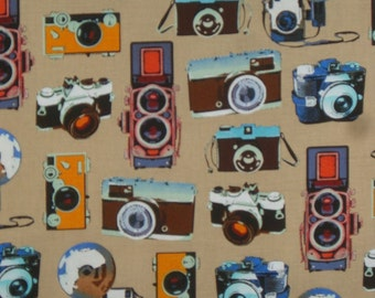 Vintage Cameras Print on Beige from Benartex--One Yard