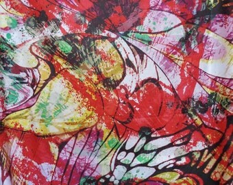 SPECIAL--Red Yellow and Green Huge Splatter Print Pure Cotton Lawn Fabric--One Yard