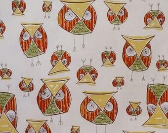 SPECIAL--Avocado and Pumpkin Fun Owl Print Pure Cotton Fabric from Dear Stella-One Yard