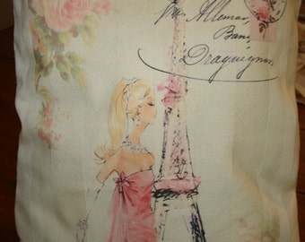 Paris Blonde lady Shabby Style  Decorative Pillow Room