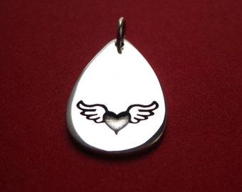 Sterling Silver Stamped Winged Heart Teardrop Pendant Charm