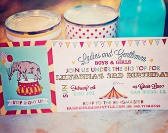Circus Carnival Birthday Invitation - Printable