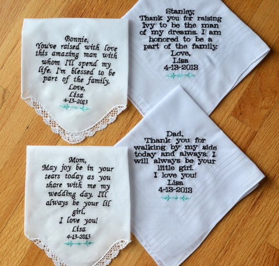 Wedding Gifts For Parents Handkerchief : similar to 4 Wedding Handkerchiefs Embroidered- Parent Wedding Gift ...