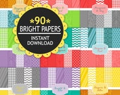 Digital Paper Pack  HUGE Set for Personal and Commercial Use - Brights