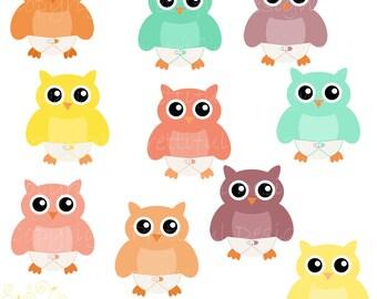 Baby Owl Clip Art Diaper Owl Clipart Digital Scrapbooking CU Ok Instant Download
