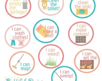 Chore Badges 3-5 Year Old Printable Instant Download