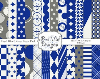 Sports Team Colors Digital Paper Pack  - Personal and Commercial Use Royal Blue and White