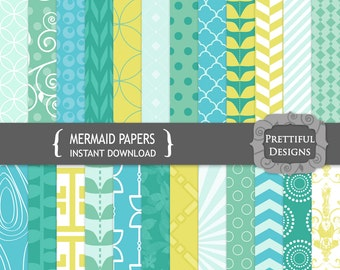 Mermaid Digital Scrapbooking Printable Paper Pack Instant Download Blue Aqua Green Yellow