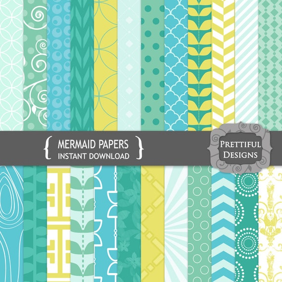 50% Off Sale Digital Scrapbooking Printable Paper Pack Instant Download Mermaid (679)