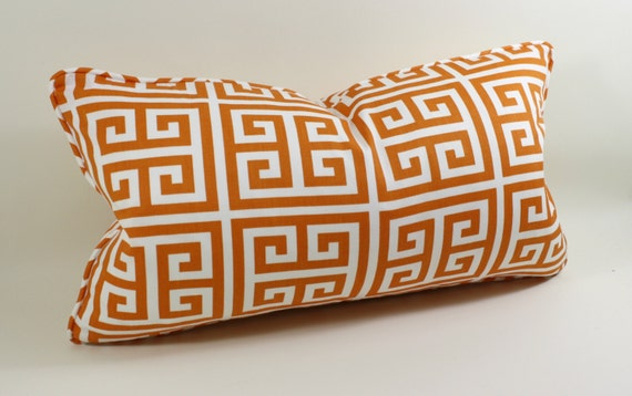 Designer Pillow Cover in Greek Key Orange Sherbert and White, Decorative Pillow Cover, Accent Pillow, Throw Pillow, toss pillow