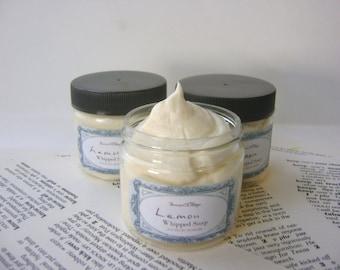 Lemon Whipped Soap, Cream Soap in a Jar, Natural Vegan Soap 2 oz Trial Size