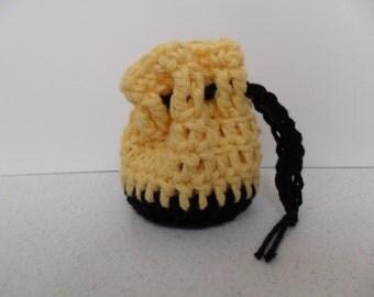 Cotton Coin Purse - Black & Sunshine Yellow - Money Dice Token Medicine Bag - Drawstring