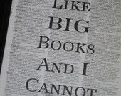 BOGO SALE I Like Big Books and I Cannot Lie Dictionary Art Print Saying Art Print Vintage Dictionary Print Wall Art Print Upcycled
