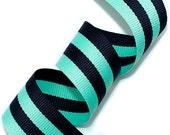 25mm(1'') Mint - Navy Grosgrain Stripe Ribbon - MADE IN KOREA