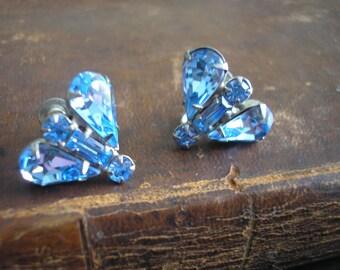 Vintage Sky Blue Rhinestone Earrings, 1960s