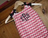 Baby girl bubble in pink chevron with navy bows and monogram