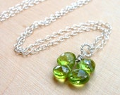 Four Leaf Clover Necklace St. Patricks Day Necklace, Peridot Irish Shamrock Sterling Silver Green