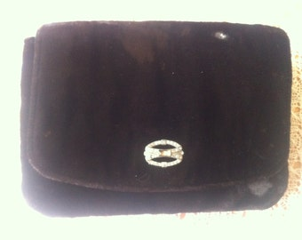 Vintage Velvet Evening Purse with Rhinestone clasp