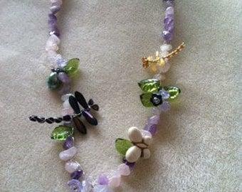 Summer Garden Necklace, Handmade Jewelry, OOAK, Dragonfly Jewelry