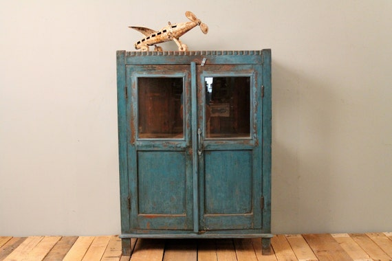 Indian Chippy Blue Bathroom Kitchen Storage Curio Glass Cabinet