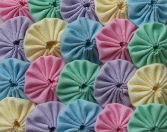 50 Pastel Spring Mix 1 inch  Fabric Yo Yos Applique Quilt Pieces Scrapbooking Embellishments