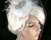 Birdcage Veil, Bridal Hat, Ivory, Feather Fascinator, Wedding Head Piece, Veil, Swarovski Crystals and Rhinestones - Velvet or Silk