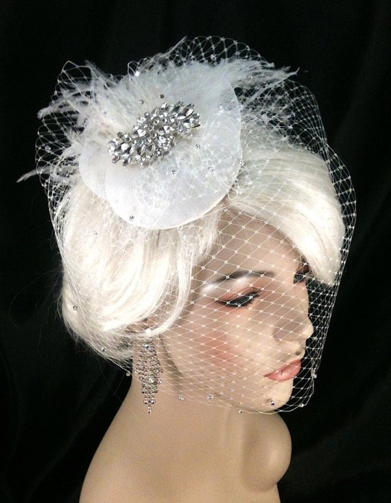 Birdcage Veil, Bridal Hat, Ivory, Feather Fascinator, Wedding Head Piece, Veil, Swarovski Crystals and Rhinestones - Velvet or Silk