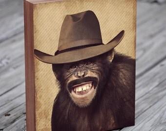 Monkey Hat - Monkey Art - Lenny The Wild West Monkey - Wood Block Art Print