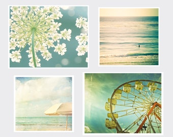 Sale, Large Wall Set, Beach set, Four Individual Prints, Two 11x14 and Two 12x12 prints, Fine Art Photography, Cottage Light Studio