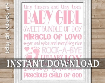CLEARANCE Pink Baby Girl Subway Art - Printable INSTANT DOWNLOAD
