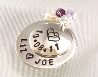 Personalized Bridal Charm for Bride's Flower Bouquet - Hand Stamped with Double Heart  - Wedding Date -  Bride and Groom Names -  Accessory