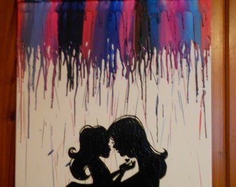 Happy Mother's Day Melted Crayon Painting Mother and Daughter