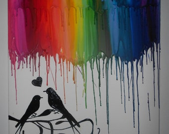 Love birds Melted Crayon Painting Art