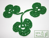 5 Crochet Clovers Shamrocks in GREEN great for Decorations, Ornaments, Embellishments as Gift Tags, St. Patrick Day