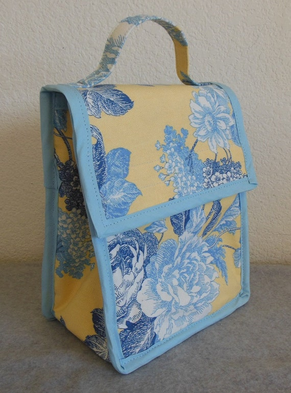 Insulated Lunch Bag Blue Floral By BonniesSewCrazy On Etsy