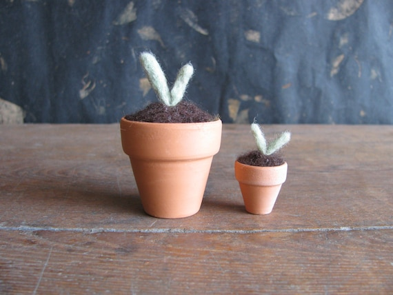 Felted wool seedling in a small terra cotta pot