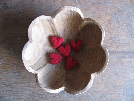 Felted wool hearts, Red, set of 5, Valentine or Galentine's Day decor, mini needle felted hearts, red valentine gift under 20, waldorf gift
