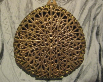 """Large Vintage Filigree Brass Locket; Filigree front, Solid Leafy Design Back,  Made in USA by Guyot, 2 1/8"""" by 2 1/16"""", 1 Pc."""