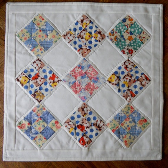 Vintage Nine Patch Quilted Table Topper Runner Wall Hanging Primitive Decor