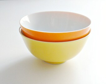 Mid Century Bowls Yellow and Orange Japan Rice Bowls Citrus Colors Snack Bowls  Lot of 2 Vintage