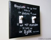 DOUBLE SWITCHPLATE -  Quote Light Switch Plate - Happiness Can Be Found
