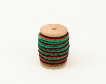 cotton string 2yards (width 5mm) 47715 green, red, black mixed
