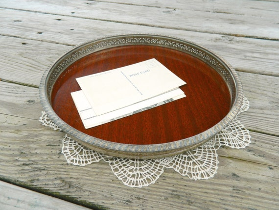 Vintage Round Butler Tray, Bar Tray or Vanity Tray, Formica and Silver Plate, by Crescent